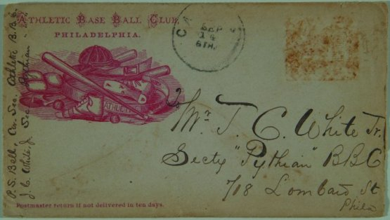cs envelope addressed to Jacob White of Pythian Base Ball Club.