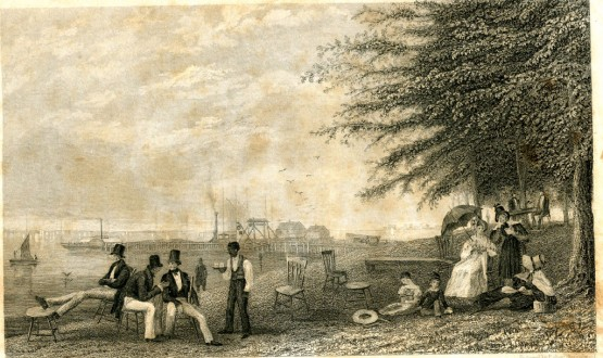 Elysian Fields 1830s, with Colonnade Hotel (McCarty's).