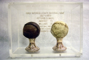Baseballs used in 1st game / Courtesy of Amherst College Archives and Special Collections