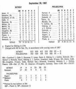 Box Score, September 30, 1907