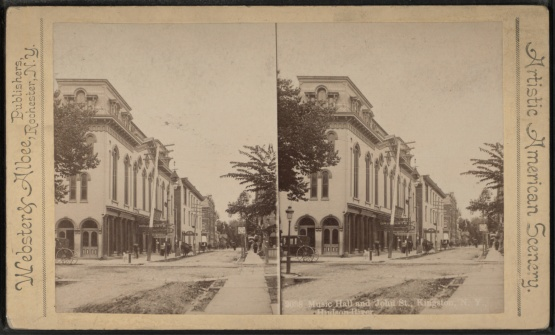 Corner of Wall Street and John Street, Kingston, NY. Barber shop would have been to left.