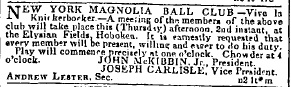 Nov 2, 1843 Herald, Magnolia Ball Club