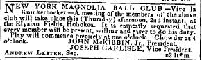 Nov 2, 1843 Herald, Magnolia Ball Club
