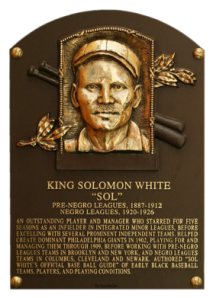 Sol White Plaque, Baseball Hall of Fame