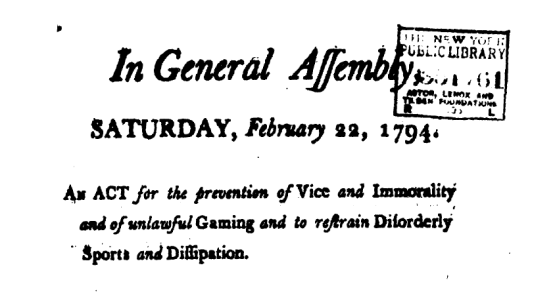 Disorderly Sports Prohibition, Pennsylvania, 1794