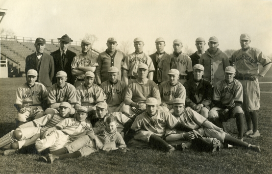 Michigan Baseball Club, 1913; in back row, Rickey third from left, Sisler fifth from left.
