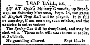 Trap Ball at Dyde's, New York Columbian Sept 13, 1811