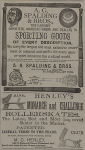 Base Ball and Roller Skates 1885