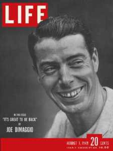 Joe DiMaggio, Aug 1, 1949.