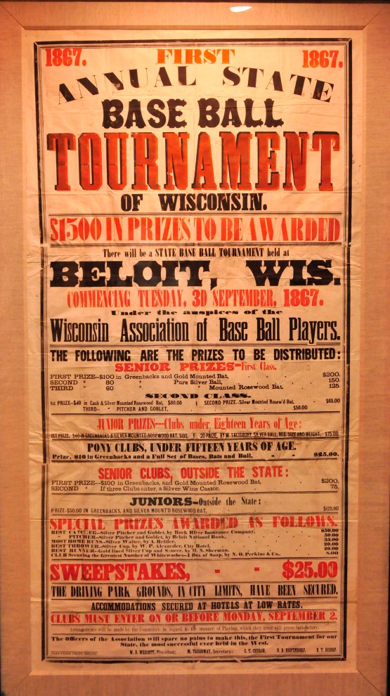 First Annual State Base Ball Tournament, Beloit, Wisconsin 1867. Courtesy Beloit Historical Society.