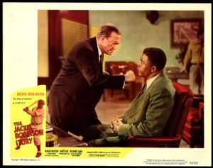 "Lobby card from ""Jackie Robinson Story"" depicts the scene on August 28, 1945."