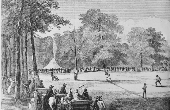 Baseball at the Elysian Fields. Harper's Weekly, 1859.