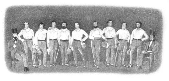 Eckfords of Brooklyn,1858; Frank Pidgeon at center, with ball