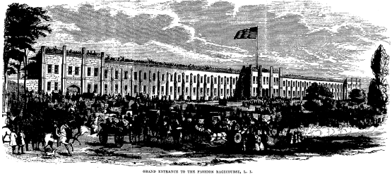 Grand Entrance to the Fashion Race Course, L.I. from Frank Leslie's Illustrated Newspaper, June 28, 1856.