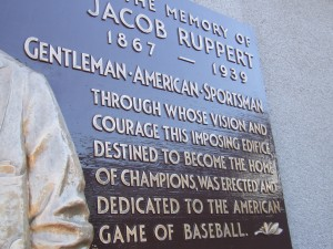 The Colonel's plaque at Yankee Stadium's Monument Park