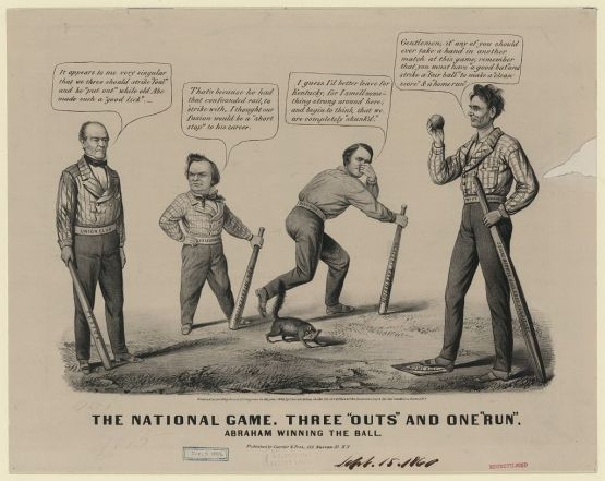 "The national game. Three ""outs"" and one  ""run,"" Currier & Ives, 1860."