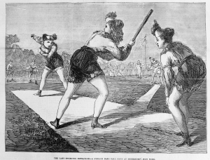The game at Peterboro, NY, as depicted in The Sporting Times of August 29, 1868.