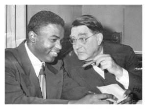 Robinson with Branch Rickey at Dodger offices on Montague Street