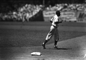 Robinson at Ebbets Field, 1949.