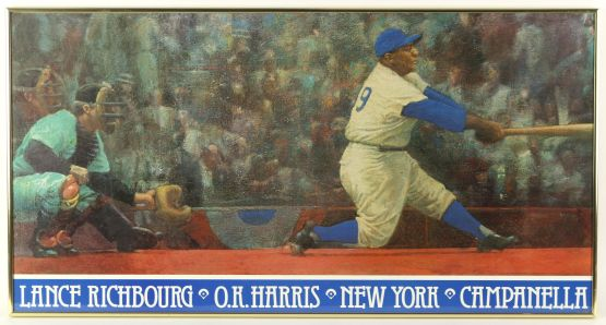 Lance Richbourg paints Roy Campanella; OK Harris Gallery
