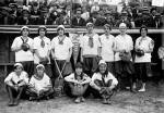 New York Female Giants, 1913; Ida Schnall with crossed bats.