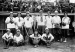 New York Female Giants, 1913; Ida Schnall with crossed bats.