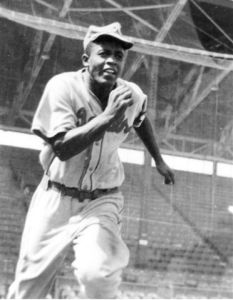 Robinson  with Chet Brewer's Kansas City Royals, in tryout at Lane Field, San Diego, October 7, 1945.
