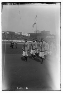 Ruth leads mates, first Opening Day at Yankee Stadium, April 18, 1923.