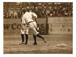 The Babe rounding first at the Polo Grounds in 1920 or 1921.
