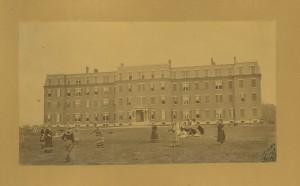 Women playing ball at Bradford Academy, Bradford, Mass., 1884.