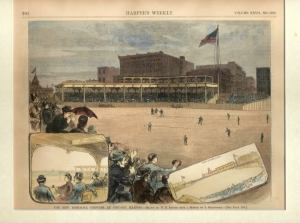 "1883 Lakefront Park, Chicago; note nine ""skyboxes"""