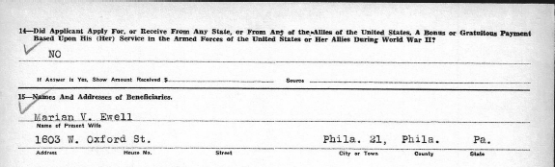Charles Augustus Ewell, Pennsylvania Veteran Compensation Application. from page two.