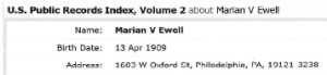 Marian V. Ewell, note address