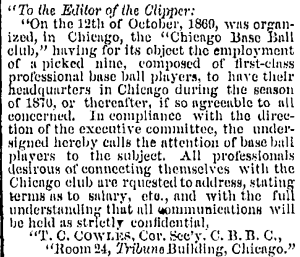 The Chicago Plan for 1870, from New York Clipper