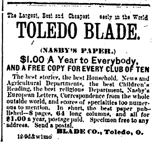 Ad for Toledo Blade, 1883
