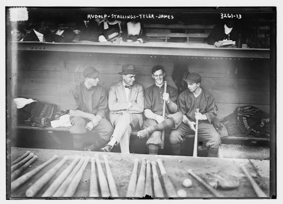 Dick Rudolph, manager George Stallings, Lefty Tyler, Bill James,  Boston NL, 1914.
