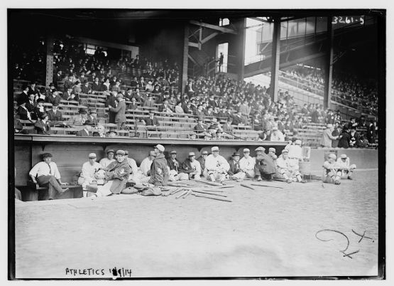 Philadelphia Athletics dugout prior to start of Game 1 of 1914 World Series at Shibe Park.