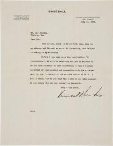 Landis letter to Joe Jackson, 1923.
