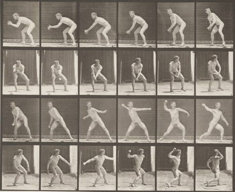 Muybridge, Plate 283, Catching and Throwing Baseball