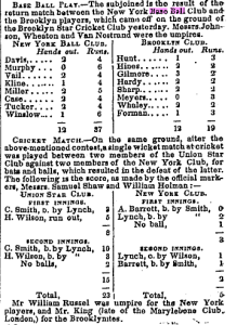 October 25, 1845: New York vs. Brooklyn; Wheaton, umpire
