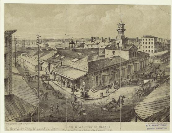 View of Washington Market, from the Southeast corner of Fulton and Washington Streets, 1859. Weingartner_Valentine Manual