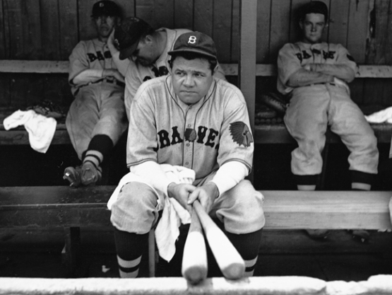 20. Babe Ruth on his final day in the majors, with Boston Braves; photographer Bruce Murray.