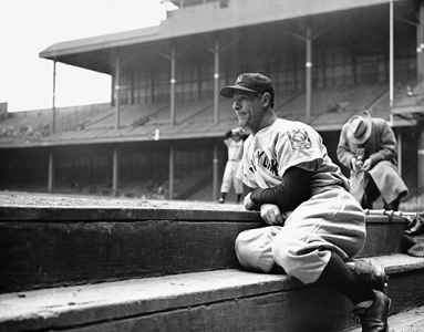 9. Lou Gehrig in dugout, Detroit May 2, 1939; he would not play this day; unknown photographer, AP.