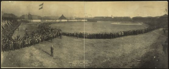 19. October 8, 1904 New York Highlanders battle for pennant with Boston Pilgrims on final day of season, Huntington Avenue Grounds; photographer George R. Lawrence.
