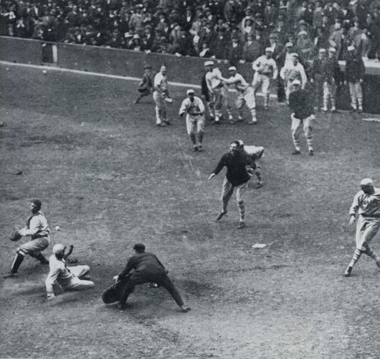 15. Casey Stengel of the Giants scores winning run with a ninth-inning inside the park homer, Game One, 1923 World Series; photographer unknown.