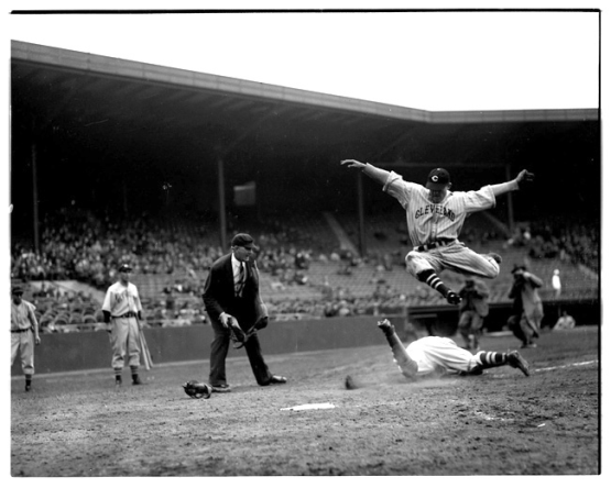 10. Fenway Park, May 20, 1937: Cleveland's Jeff Heath leaps over Red Sox catcher Gene Desautels; Leslie Jones.