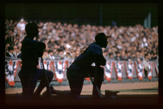 5. Hank Aaron on deck, 1957 World Series; Hy Peskin.