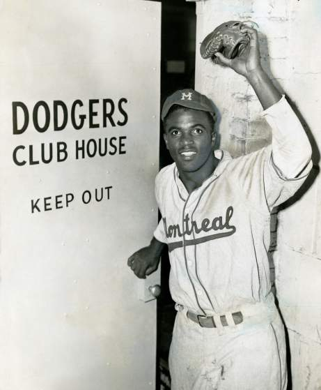 22. Jackie Robinson is called up from the Montreal Royals to the Brooklyn Dodgers, April 10, 1947; William C. Greene, New York World-Telegram.