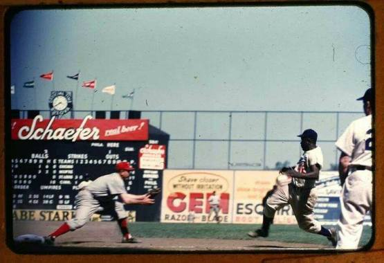 Jackie Robinson sliding at Ebbets Field