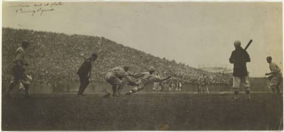 14. Hal Janvrin out at the plate, Game 2, 1916 World Series; photographer unknown.